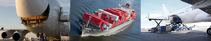 Shiping by land, sea and air